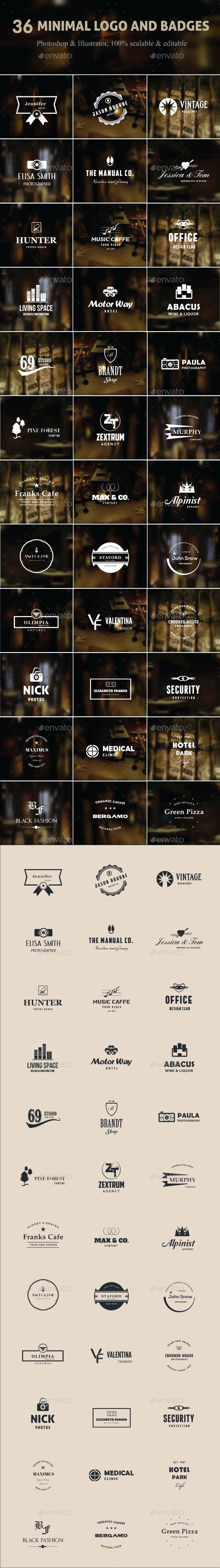36 Minimal Logo and Badges - Badges & Stickers Web Elements