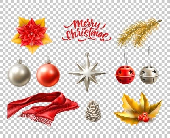 Vector Merry Christmas Realistic Symbols - Christmas Seasons/Holidays