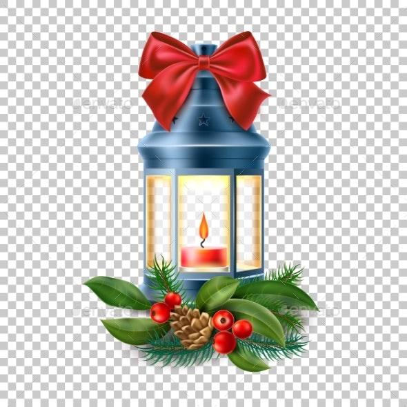 Vector Vintage Old Lantern - Christmas Seasons/Holidays