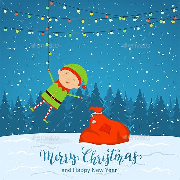 Snowy Background with Elf and Christmas Lights - Christmas Seasons/Holidays