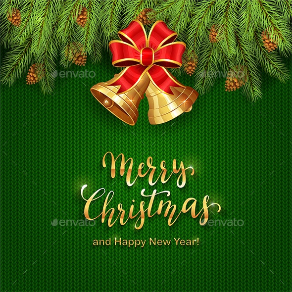Christmas Lettering on Green Knitted Background with Golden Bells - Christmas Seasons/Holidays