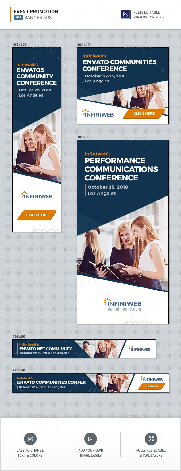 Event Promotion GIF Banners - Banners & Ads Web Elements