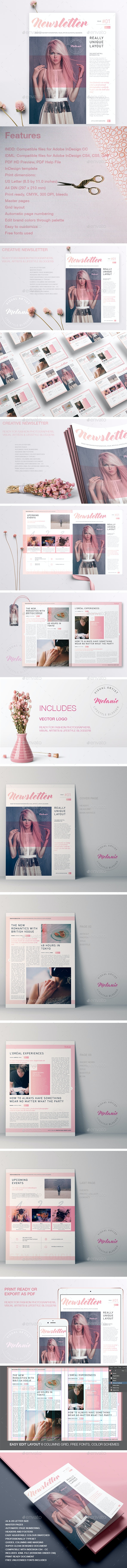 Melanie - Creative Newsletter - Newsletters Print Templates