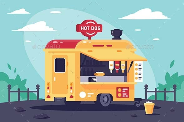 Mobile Stall with Hot Dogs at Work in the Park - Food Objects