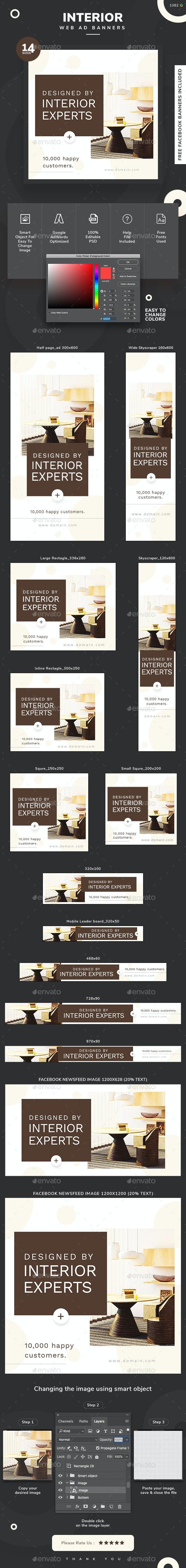 Interior Design Web Banner Set - Banners & Ads Web Elements