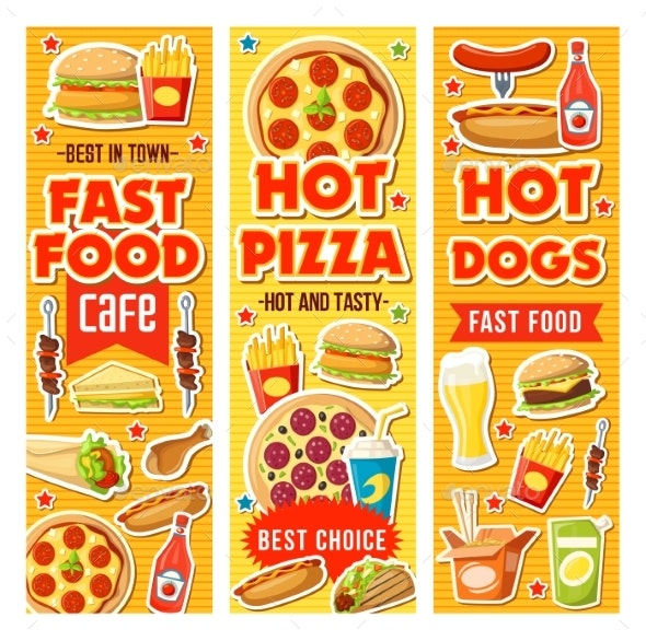 Fast Food Burger Pizza and Drinks - Food Objects