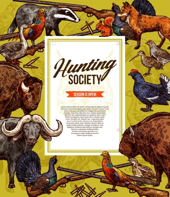 Wild Animals and Birds Hunting - Sports/Activity Conceptual