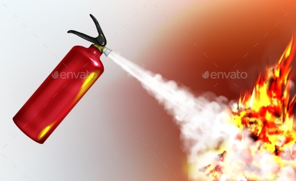 Extinguishing Flame with Fire Extinguisher Vector - Man-made Objects Objects
