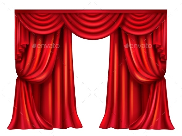 Vector Red Theatrical Curtain on White Background - Man-made Objects Objects