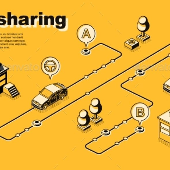 One-Way Carsharing Service Isometric Vector Poster