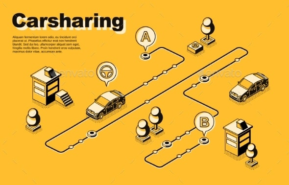 One-Way Carsharing Service Isometric Vector Poster - Industries Business