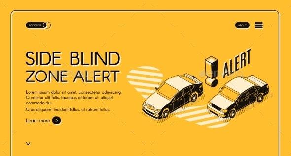 Car Blind Spot Monitoring Assist Vector Website - Computers Technology