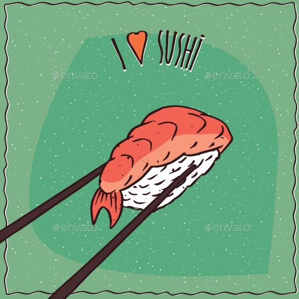 Chopsticks Holding Sushi Roll Nigiri - Food Objects