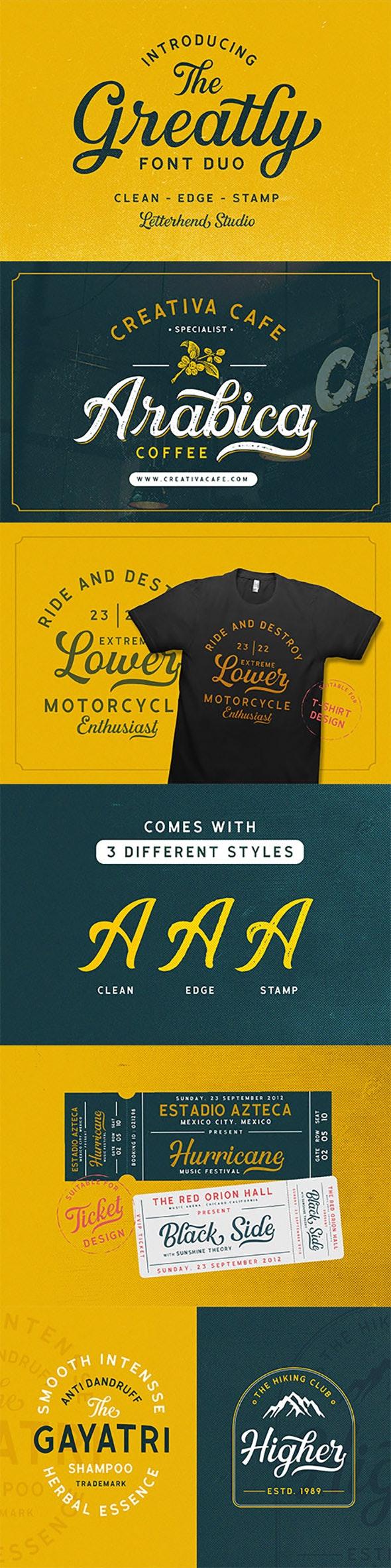 Greatly Font Duo + Logo Templates - Cursive Script