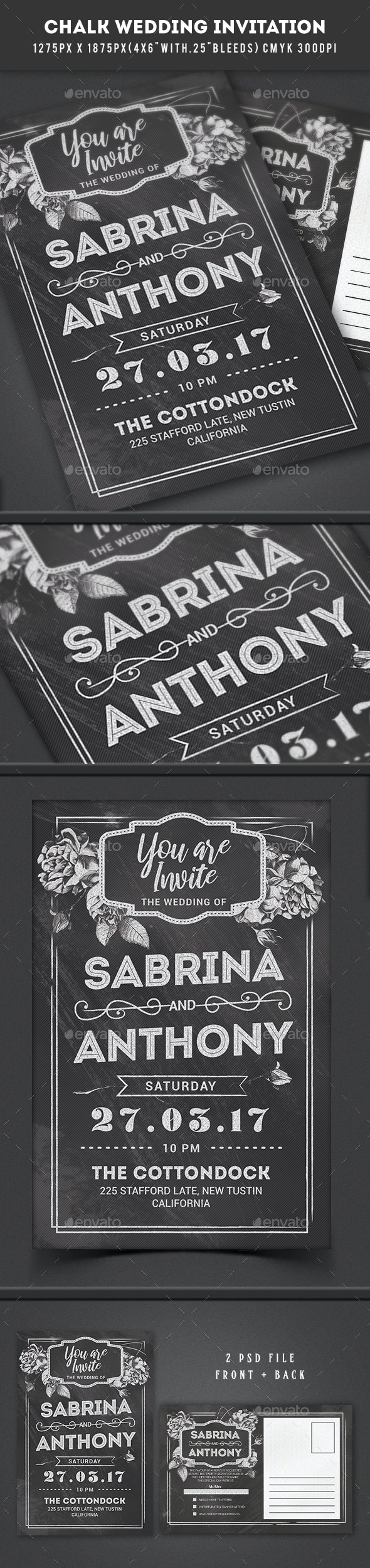 Chalkboard Wedding Invitation - Weddings Cards & Invites