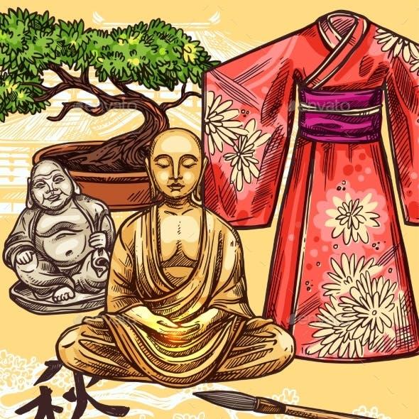 Japanese Kimono Pagoda and Bonsai