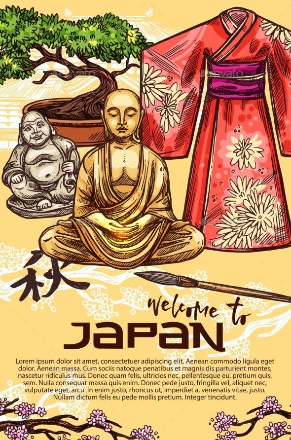 Japanese Kimono Pagoda and Bonsai - Miscellaneous Vectors