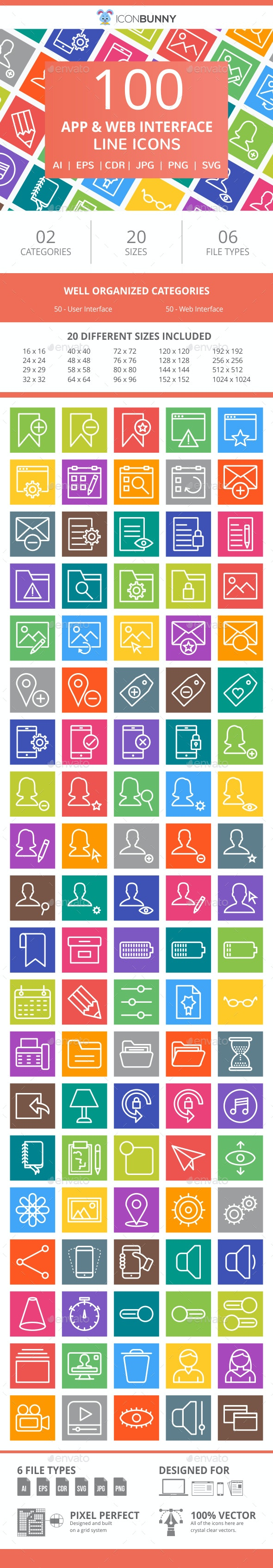100 App & Web Interface Line Multicolor B/G Icons - Icons