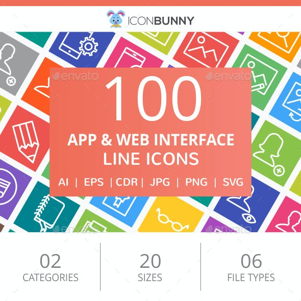 100 App & Web Interface Line Multicolor B/G Icons