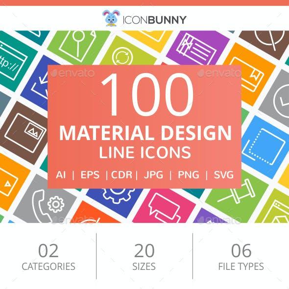 100 Material Design Line Multicolor B/G Icons