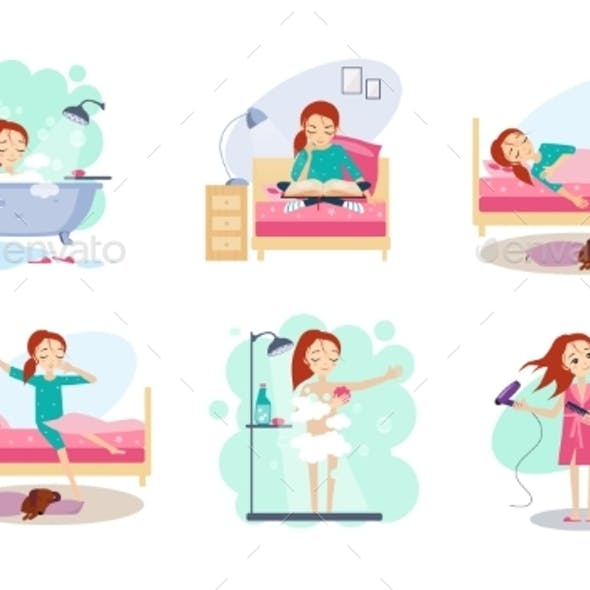 Woman Daily Routine, Night and Morning Time, Girl