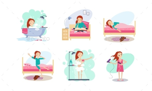 Woman Daily Routine, Night and Morning Time, Girl - People Characters