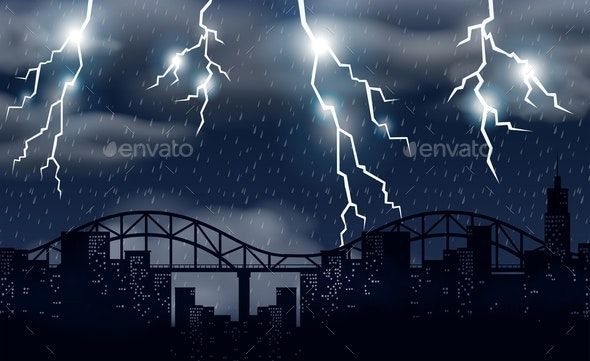 Storm and Lighting Over City - Landscapes Nature
