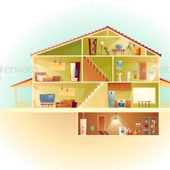 Vector Cartoon House in Cross Section