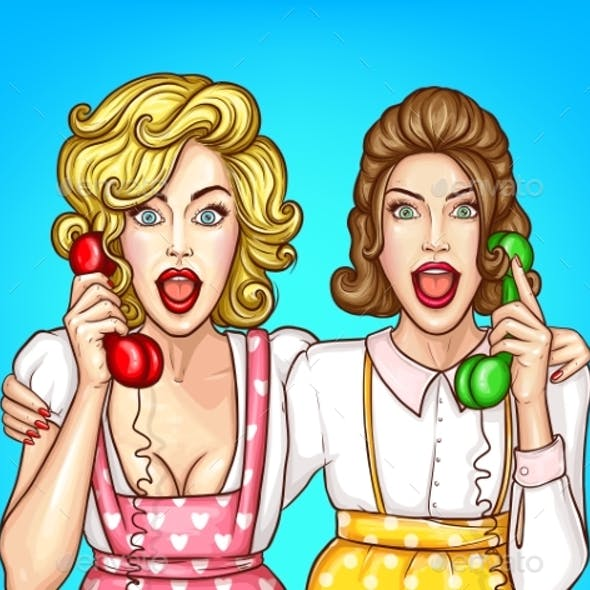Vector Women Talk on the Phone Excited Housewives