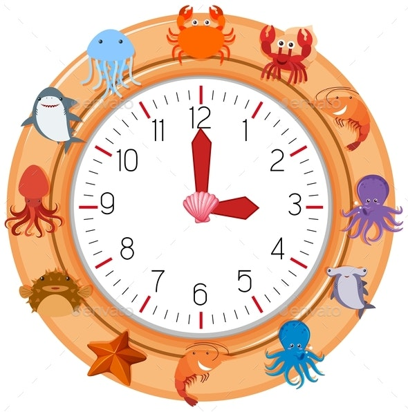 Clock With Sea Creature - Man-made Objects Objects