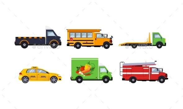 City Transport Set, Truck, School Bus, Tow Truck - Man-made Objects Objects