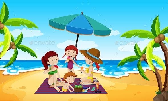 People Under an Umbrella Beach Scene - People Characters
