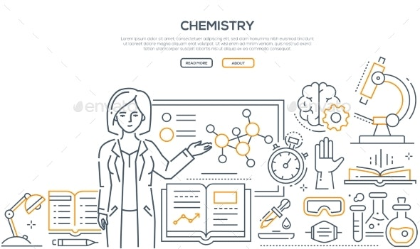Chemistry Lesson - Colorful Line Design Style - Miscellaneous Conceptual