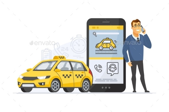 Taxi Service - Modern Vector Cartoon Character - People Characters