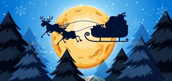Silhouette of Sleigh Night Scene - Christmas Seasons/Holidays