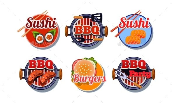 Fast Food Logo Set, Sushi, Barbecue, Burger Badges - Food Objects