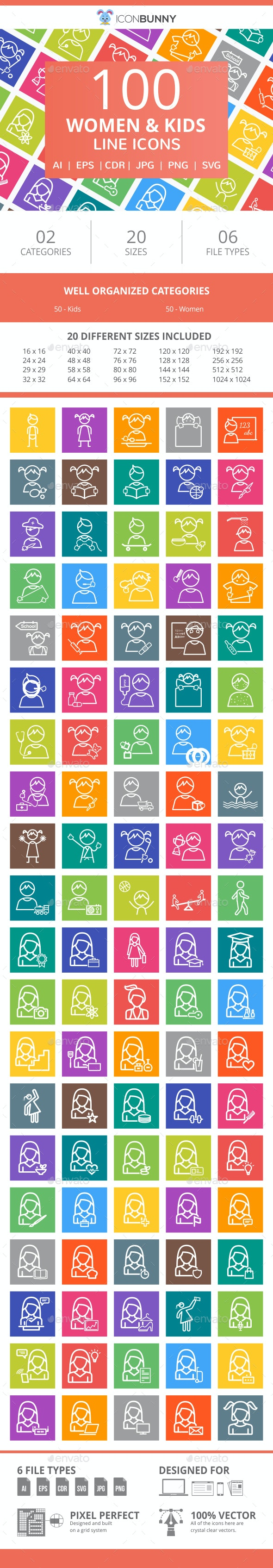 100 Women & Kids Line Multicolor B/G Icons - Icons