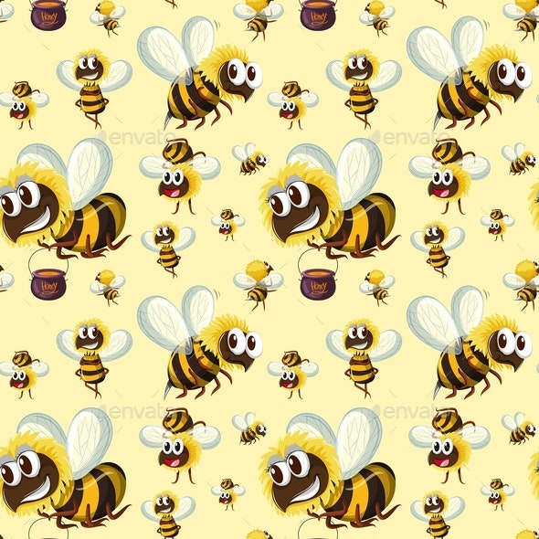 Seamless Bumble Bee Pattern - Animals Characters