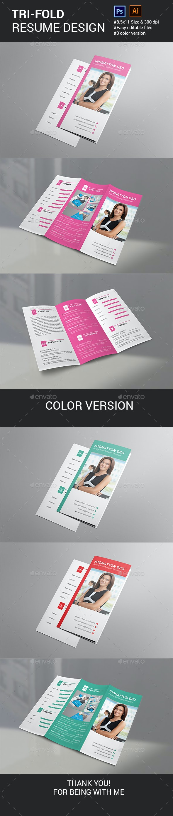 Resume Trifold Template - Resumes Stationery