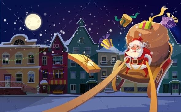 Christmas Background with Santa on a Sleigh - Seasons/Holidays Conceptual