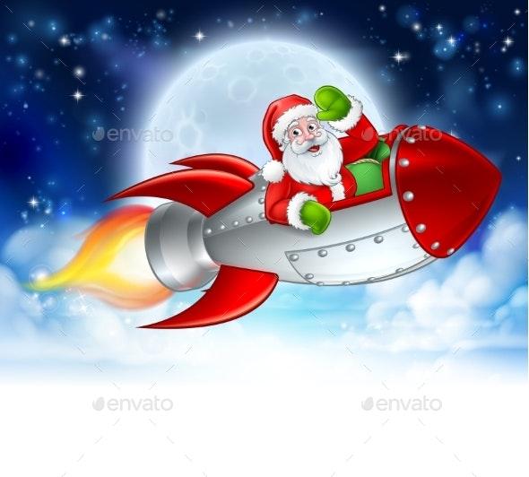 Santa Claus in Rocket Christmas Moon Cartoon - Christmas Seasons/Holidays