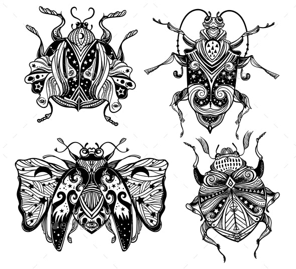 Magic Beetles and Bugs Set. Fantasy Ornate Insects - Animals Characters