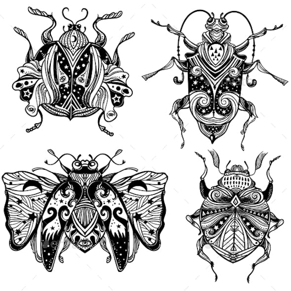 Magic Beetles and Bugs Set. Fantasy Ornate Insects