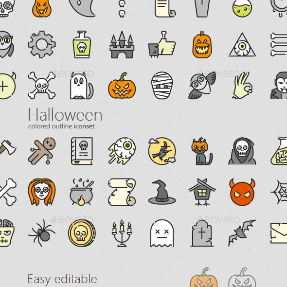 Halloween Colored Outline Icons