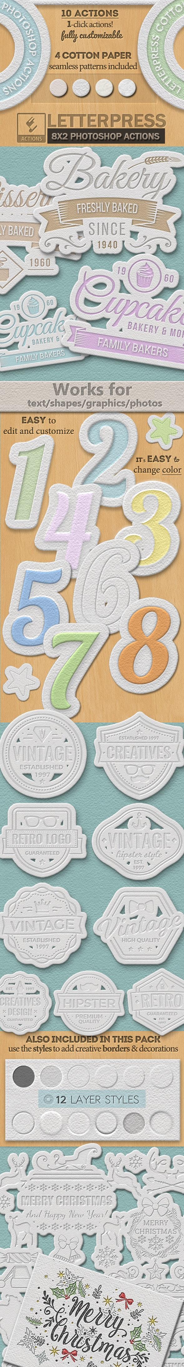 Cotton Letterpress Style Photoshop Creator - Utilities Actions