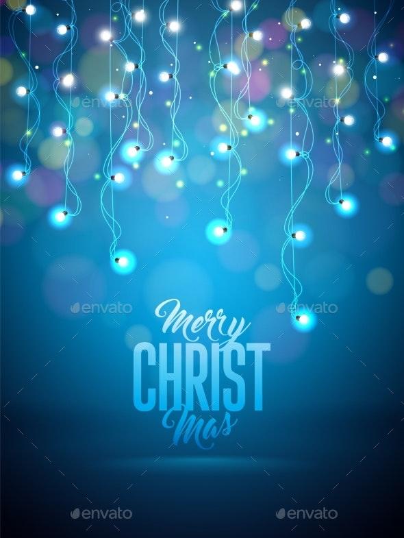 Christmas Illustration with Glowing Colorful - Christmas Seasons/Holidays