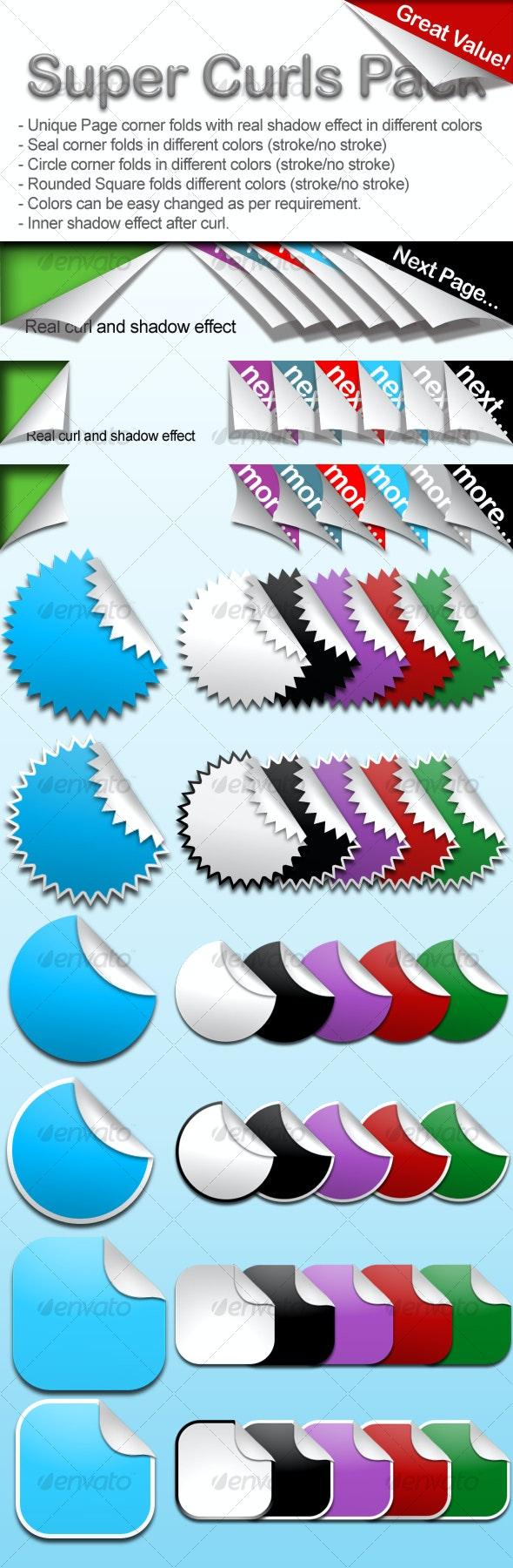 Super Curls & Page Foldes Pack - Web Elements