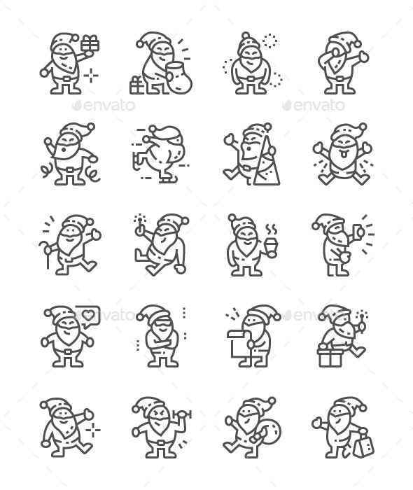 Funny Santa Claus Line Icons - People Characters