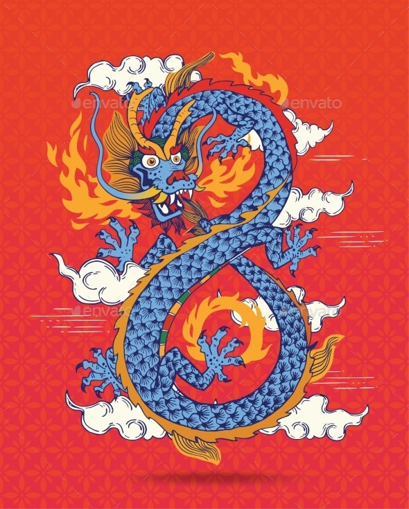 Colorful Traditional Chinese Dragon - Abstract Conceptual