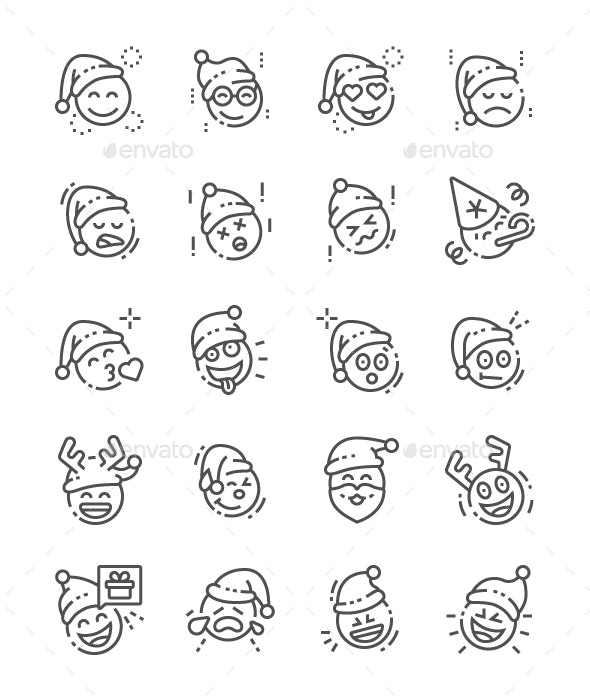 Emoticons with Christmas Theme Line Icons